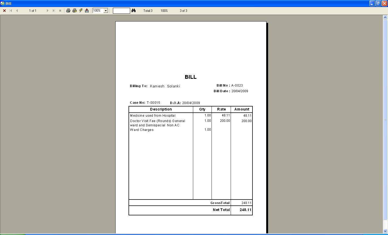 amc bill format